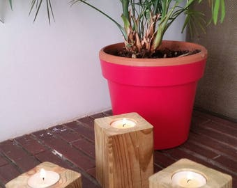 Set of 3 8/12/16 cm square wooden candle holders