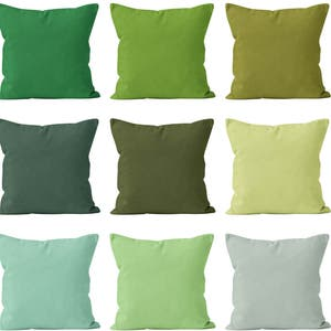 Solid Green Pillow Covers Set Mix And Match, Green Home Decor Accent Pillow  Covers,