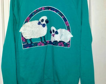 1980s Golf Floral Lamb Collared Turquoise Pullover Sweatshirt Women's Size Medium