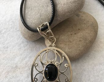 Necklace-Sterling Silver Pendant with Black Stone