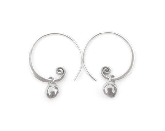 Silver Hoop Earrings - Spiral Earrings - Silver Ball Earrings - Sterling Silver Earrings - Lightweight - Playful Petite Nuggets (ES-NGS-SPL)