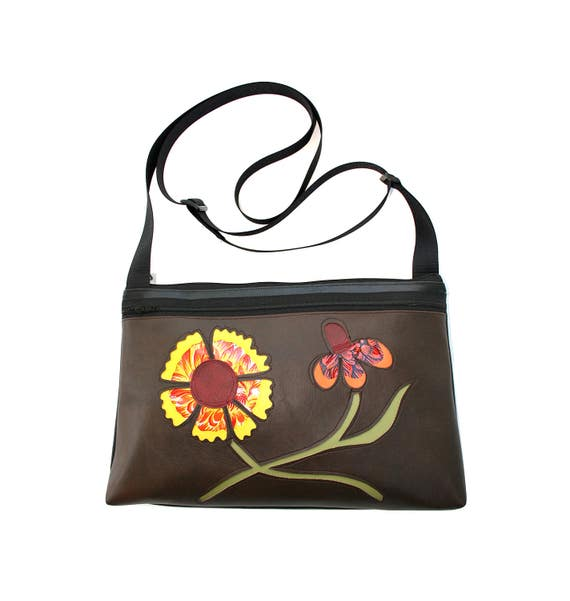 Wildflowers, Texas, brown vinyl, vegan leather