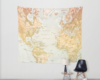 World Map Tapestry, Pastel World, Map, World artwork, Pastel Color, Pastel Art, World, World Art, Wall decor, Home Decor, wall hangings