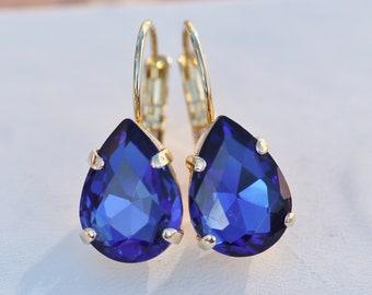 NEW Swarovski Sapphire Royal Blue Pear Teardrop Earrings,Blue Lever Back Earring,Crystal Rhinestone Earrings,Bridal,Weddings,Something Blue,