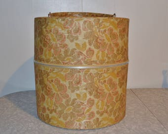 Floral Wig Box ~ Vintage Hat Box Storage ~ Mid Century Luggage ~ Hat Carrier ~