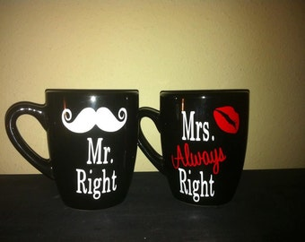 Mr.Right Mrs.Always Right Mug Set/Wedding Gift/Shower Gift