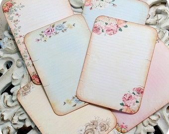 Assorted Shabby Journal Cards-Set of 6-Vintage Journal Card-Journal Tag-Journal Embellishment-Shabby Journal Spot-Vintage Ephemera-Note Card