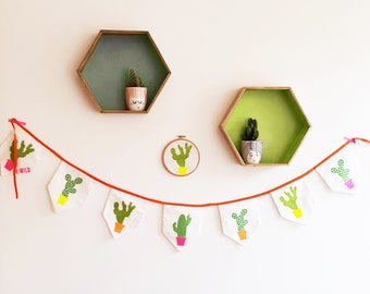 Cactus Fabric Bunting. Hand painted bunting. Cactus.
