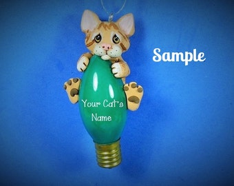 Yellow Tabby Kitty Cat Christmas Holidays Light Bulb Ornament Sally's Bits of Clay PERSONALIZED FREE with cat's name