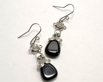 Black Onyx Drops Earrings