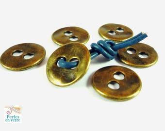 2 bronze buttons for wrap bracelet, nickel free diametre13mm (div38)