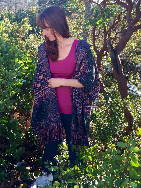 Womens Poncho in Grey with Multicolor Rainbow Detail Woven Knit Aztec Design Gift Idea for Her One Size Fits All