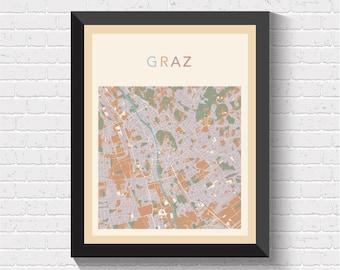Graz Map, Graz Poster, Graz Print, Map of Graz, Graz Street Map, Graz City Map, Graz Road Map, Graz Art, Austria Art, Graz, Austria
