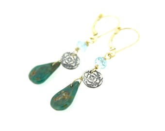 turquoise gold earrings . Campo Frio turquoise aquamarine earrings . bohemian turquoise jewelry by peaces of indigo . ready to ship
