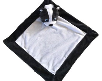 "Skunk Personalized baby blanket, Travel Size, 16""x16"", Personalized Animal blanket, Lovey size"