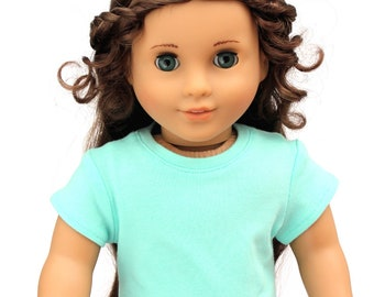SAMPLE SALE - Fits like American Girl Doll Clothes - Short Sleeve Tee in Seafoam | 18 Inch Doll Clothes