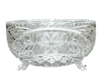 "Vintage 8"" Heavy Cut Crystal Footed Bowl w/ Cut Floral Pattern"