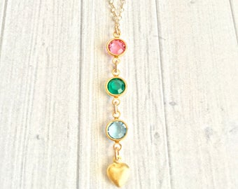 Birthstone Necklace, Birthstone Jewelry, Mother's Necklace, Grandma Gift, Lariat Necklace, Mother's Day Necklace, Mother's Day Gift