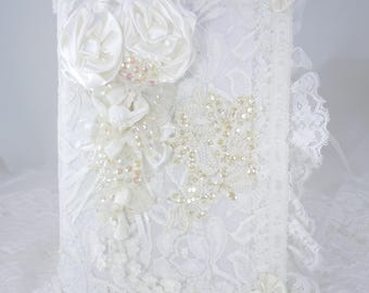 Wedding Album, Photo Album, Bridal Album, Vintage Applique', White Satin, White Lace, Wedding Keepsake, CD Album, Handcrafted