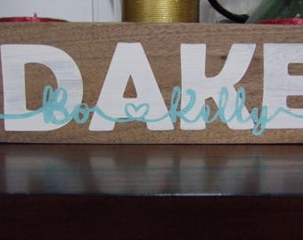 Personalized wood Sign hand Painted, Names, Weddings, Valentine's Day, Christmas, House Warming, Anniversary Gift Custom Family Dates