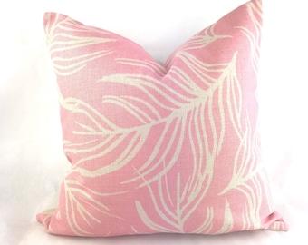 Pink cushion, light pink cushion, pink feather cushion, feather print cushion, baby pink cushion cover, pink throw pillow