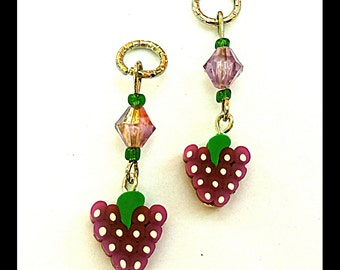 Hearing Aid Charms:  Sweet Purple Grapes with Glass Accent Beads!