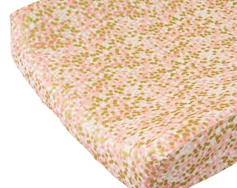Coral and Gold Changing Pad Cover | Gold Sparkle Changing Table Cover | Coral and Gold Sparkle Changing Pad Cover