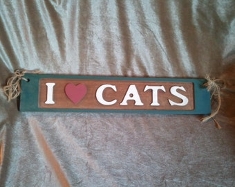 Wood Embossed and Painted I '(Heart)' Love Cats Sign