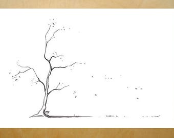 young tree in fall art print