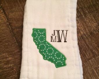 Monogrammed California burp cloth