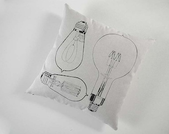 Vintage Light Bulbs silk screened cotton canvas throw pillow 18 inch black