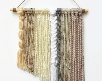 Neutral Nursery Yarn Wall Hangings -Nursery Decor-Baby shower Gift- Wall Hanging- Neutral Nursery-Nursery Wall Decor