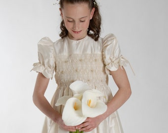 Smocking embroidery First Communion dress