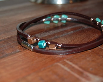 Handmade leather wrap bracelet with turquoise and copper beads