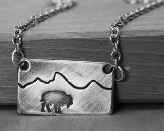 Bison Necklace, Bison Jewelry, Mountain Range Necklace, Tetons Necklace, Wyoming Jewelry, Pewter Necklace, Hand Stamped Jewelry, Stamped