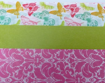 3 sheets of paper decopatch 40 X 60 cm Green Butterfly and pink vintage flower paper paste
