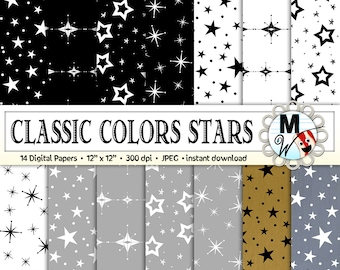 Stars Digital Paper Pack for Instant Download as Star Scrapbook Paper, Star Background, Printable Paper for Cards - Classic Colors