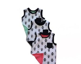 Robot tank top - gender neutral tank top - baby toddler kids sleeveless shirt - mint - coral - black tank top