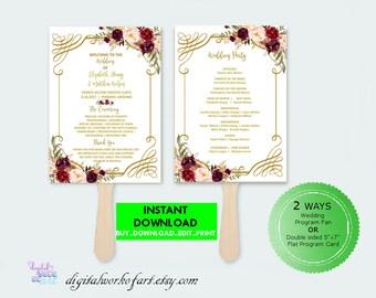 Floral Wedding Program Template, DIY Floral Bohemian Wedding Ceremony Program Editable PDF Template, instant download, floral boho, #lc