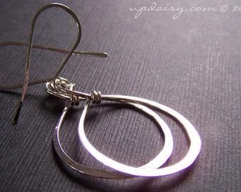 Sterling Silver Tendril Hammered Hoop Earrings