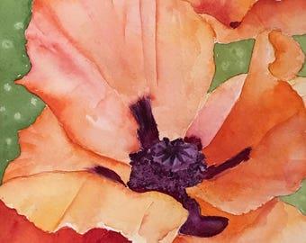 Poppy Flower Original Watercolor Painting, Nursery Decor, Wall Art, Colorado Art, Office Decor, Bedroom Decor, Girls Room Art