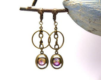 Vintage chains and iridescent rhinestone cabochon clip on earrings