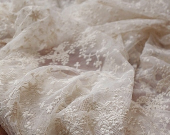 ivory cream Lace fabric, Embroidered tulle lace fabric, bridal lace fabric, antique bridal lace, curtain fabric, scalloped lace fabric