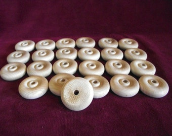 24 Hardwood Wheels 1-1/2 Inch Diameter with 1/4 Hole, Unfinished