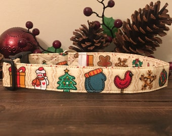 Dog Collar, Christmas Dog Collar, winter Dog Collar, snowman dog collar,  dog collar, red and green dog collar, holiday dog collar,