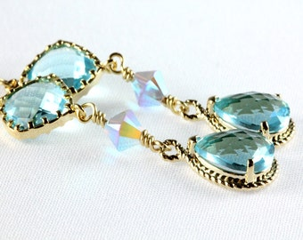 Aqua Teardrop Earrings, Blue Crystal Earrings, Swarovski Crystal Earrings, Mother of Bride Earrings
