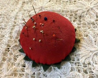 Vintage Red Pincushion, Tomato Pincushion, Floral Pincushion, 1960s Sewing