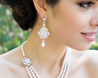 bridal necklace, pearl rhinestone necklace, Statement Bridal necklace, Wedding Rhinestone necklace, swarovski crystal necklace, AMELIA