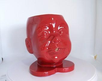 Large Ceramic Doll Head Yarn Bowl