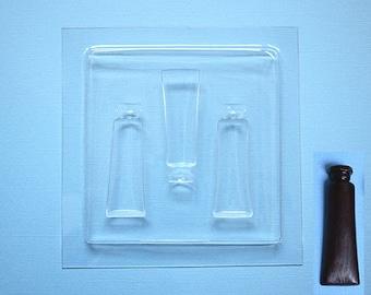 Plastic paint tube shaped chocolate mold